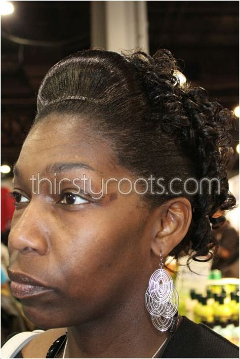 hair styles for black women french rolls relaxed hair updo with french roll and curls