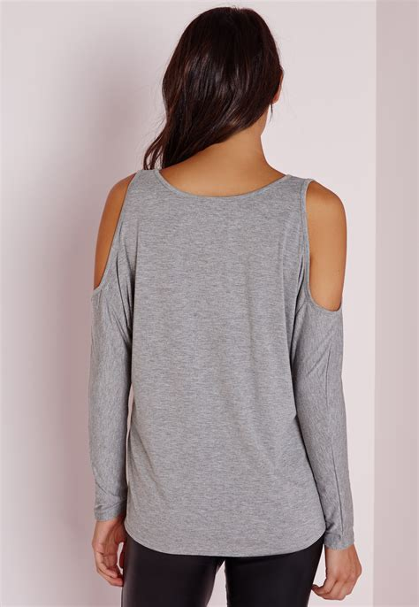 Cold Shoulder Tunic missguided cold shoulder tunic top grey in gray lyst