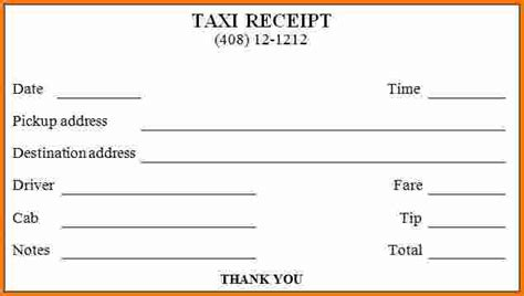 6 Taxi Receipt Generator Expense Report