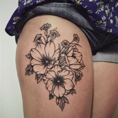 leg tattoos tumblr floral outline thigh i would like different flowers
