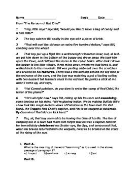 The Ransom Of Chief Worksheet Answers by The Ransom Of Chief Common Parcc Like Test By