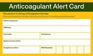 The standard oral anticoagulant alert card is widely recognised by