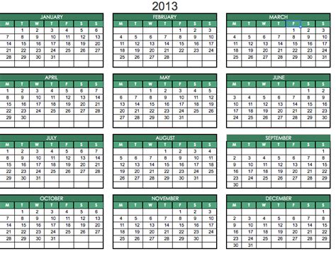 2013 one page planner excel template