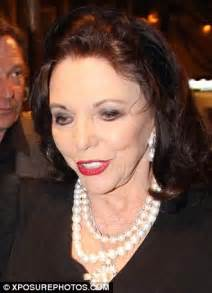 joan collins wears her dynasty face as she goes for dinner