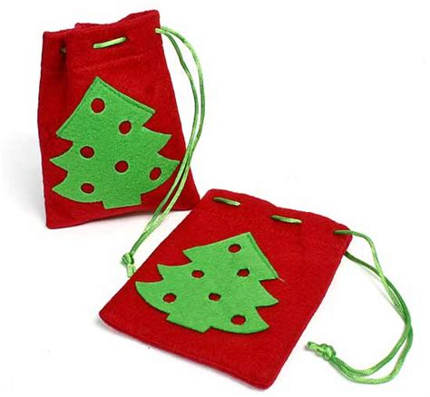 felt christmas tree drawstring bags gift bags favor