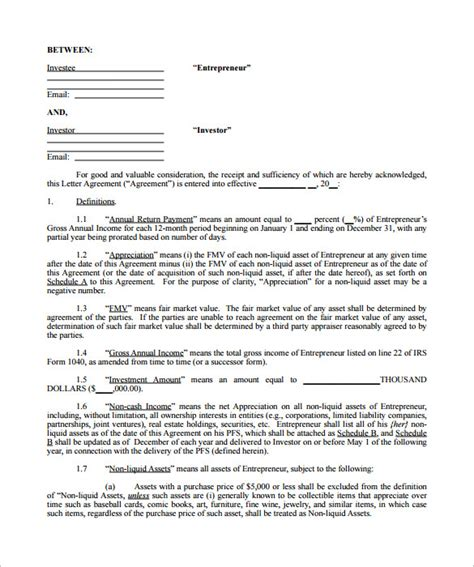 investor agreement template free 11 investment contract templates free word pdf