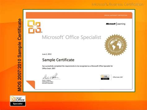Ms Office Certification by Image Gallery Mos Certification