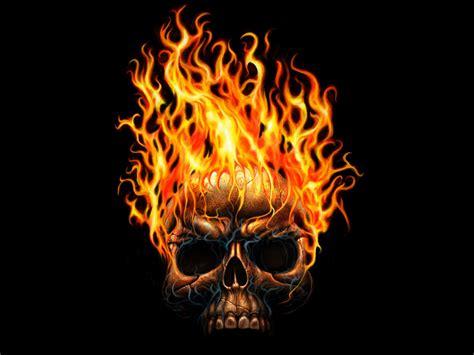 imagenes de una calavera con fuego llamas de fuego y calavera