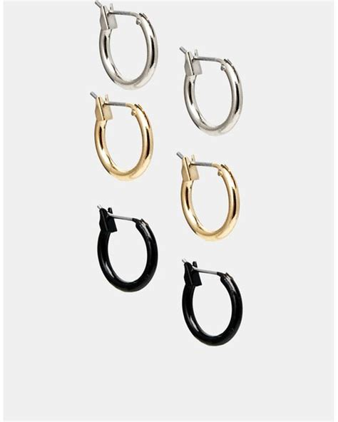 Asos Hoop Earring Pack asos hoop earring pack in multicolor multi lyst