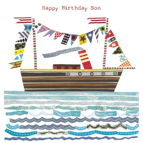 fishing boat birthday images son birthday boat birthday card karenza paperie