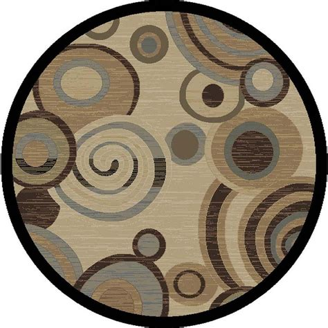 Tayse Rugs Festival Beige 5 Ft 3 In Contemporary Round Modern Circular Rugs