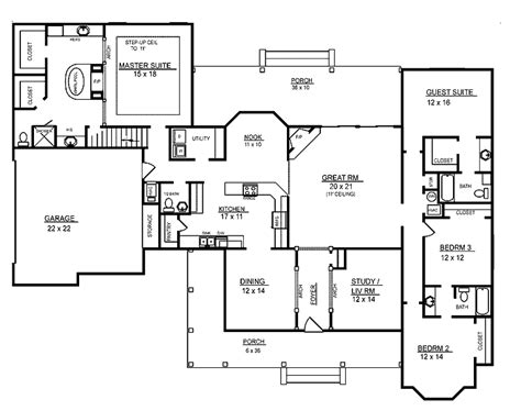 four bedroom floor plans single story 4 room house plans home plans homepw26051 2 974 square