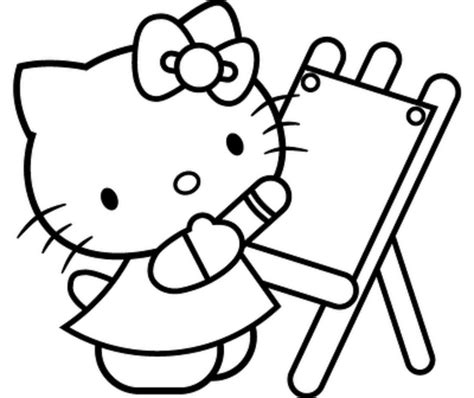 Hello Kitty Painting Coloring Pages | free printable hello kitty coloring pages coloring home
