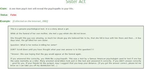 psychopath test cosmic cogitations freud and the snopes psychopath test