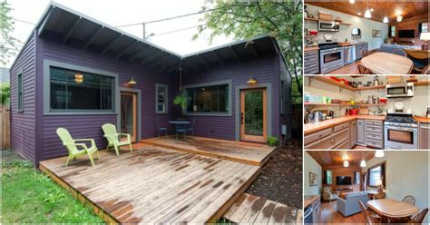 """Brilliantly Clever """"L"""" Shaped Purple Tiny House in"""