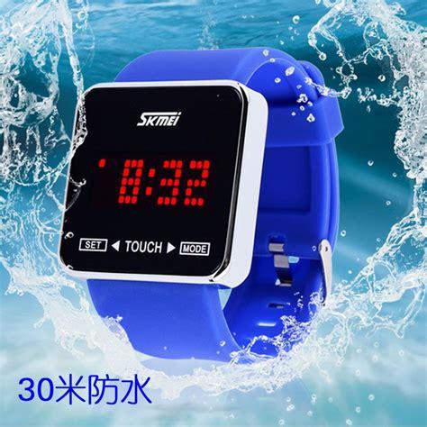 Jam Led skmei jam tangan led touch 0950at black jakartanotebook