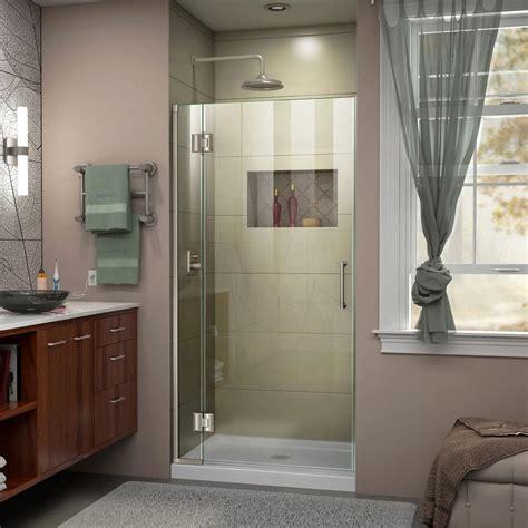 Dreamline Unidoor Shower Door Dreamline Unidoor X 34 In X 72 In Frameless Hinged Shower Door In Brushed Nickel D12872 04