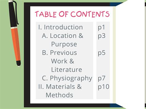 How To Write A Table Of Contents by How To Write A Table Of Contents With Exles Wikihow