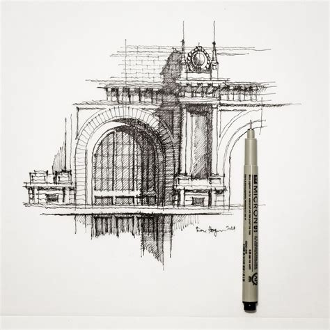 drawing of architecture partial facade sketch architecture dhsketch sketch