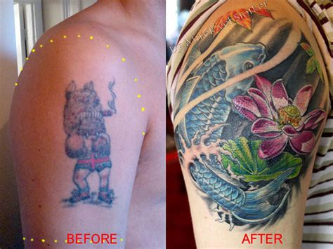 tattoo cover photo koi fish cover up tattoo by mirek vel stotker flickr