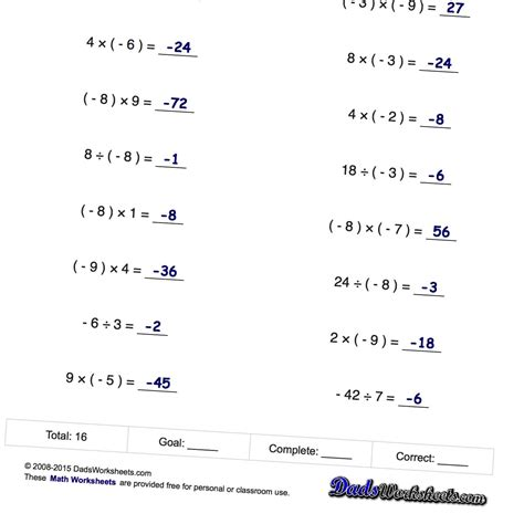negative numbers multiplication and division facts