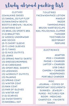 ultimate study  packing list  ladies