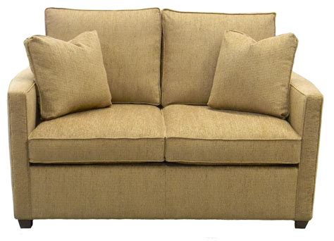 Light brown twin size sleeper sofa chairs with 2 pillow and cushions plus low wooden legs ideas