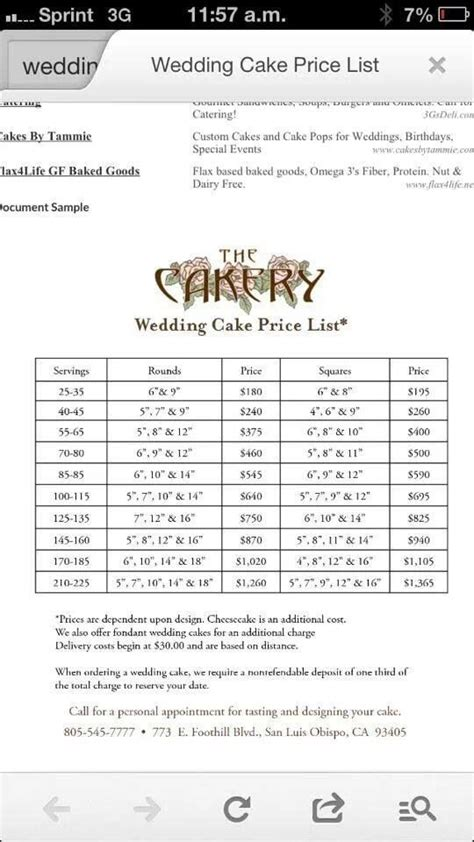 wedding cake price list everything for cakes pinterest