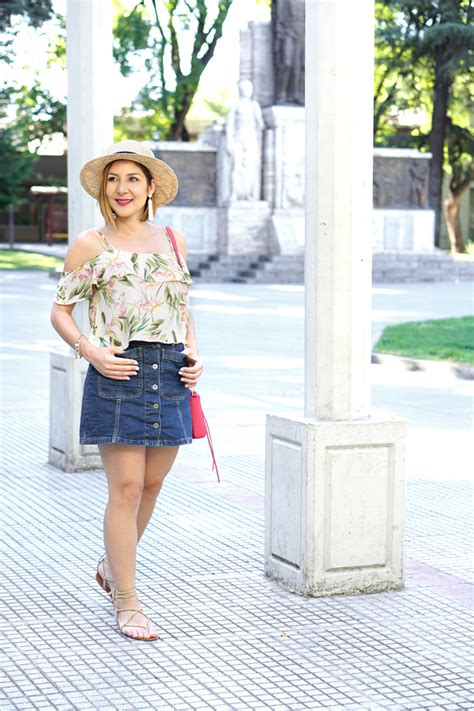 travelling fashion look fantastic in floral denim birds of paradise in mendoza denim skirt off the