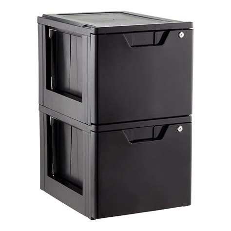 Black Office Drawers by Black Stackable Locking File Drawer The Container Store