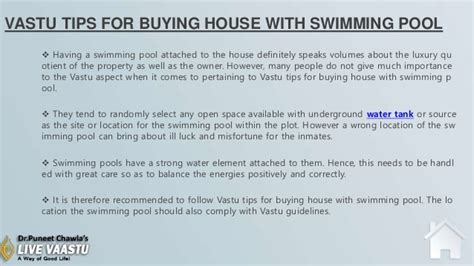 tips for buying house vastu tips for buying house with swimming pool