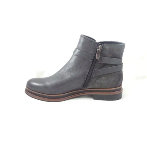 ankle flat shoes black leather and grey suede flat ankle boot from
