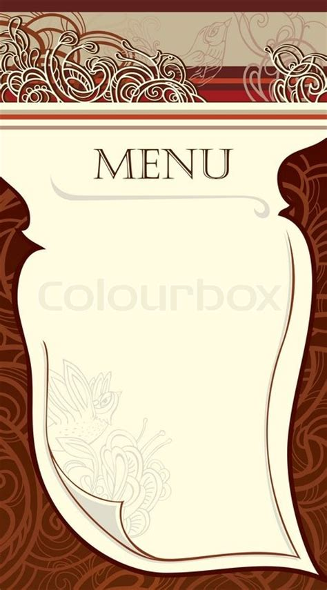 Blank Menu Card Templates by Quot Design Of The Restaurant Menu Vector Image Quot Stock
