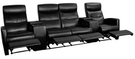black leather theater recliner black leather 4 seat home theater console recliner from