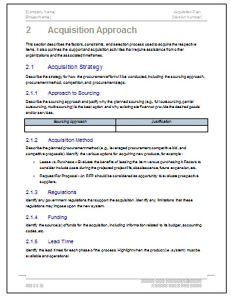 acquisition strategy template acquisition plan templates ms word excel
