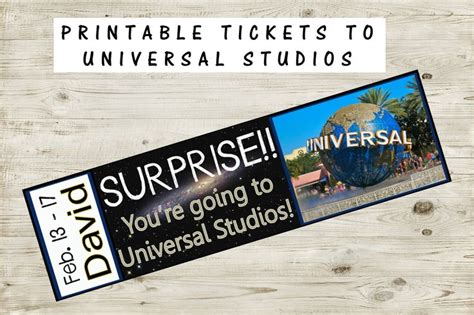 printable personalized tickets printable ticket to universal studios with custom name