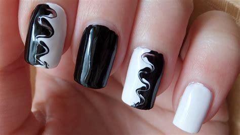 oreo nail art tutorial black and white swirl nail art tutorial youtube