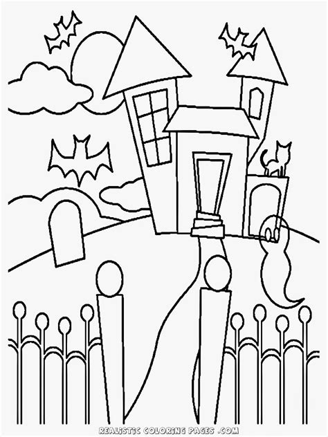realistic halloween coloring pages free coloring pages of haunted house