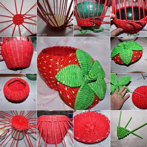 diy recycled paper crafts diy woven strawberry shaped basket from recycled newspaper