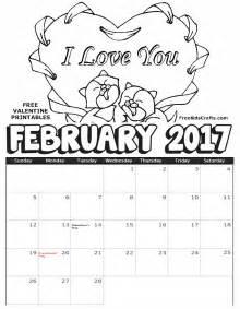 2017 printable february coloring calendar fun family crafts