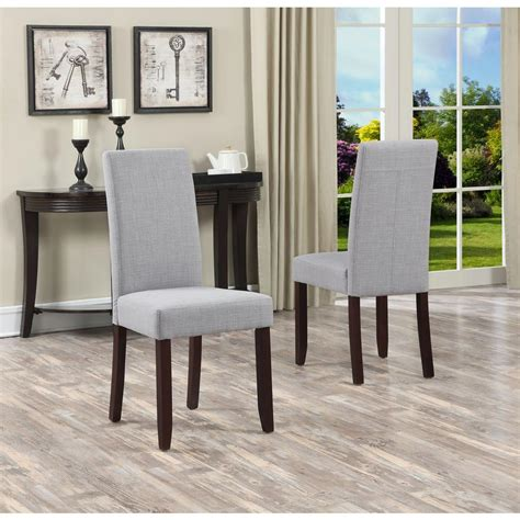 Grey Parsons Chair - simpli home acadian dove grey parsons dining chair set of
