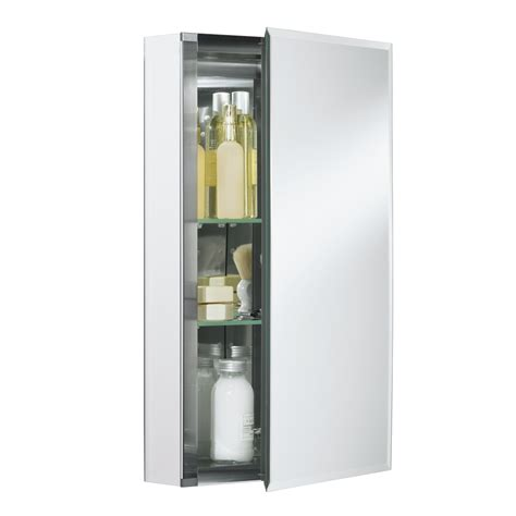 bathroom recessed medicine cabinets shop kohler 15 in x 26 in aluminum metal surface mount and