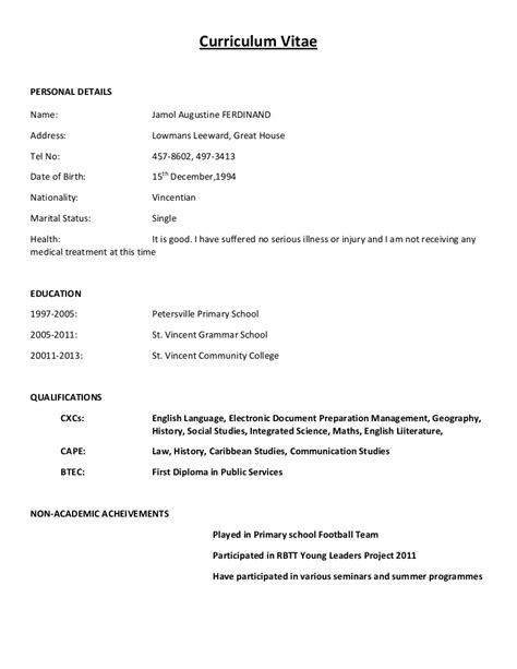 Standard Cv Layout by Mock Cv Layout Cvresume Writing Format Cv Sle