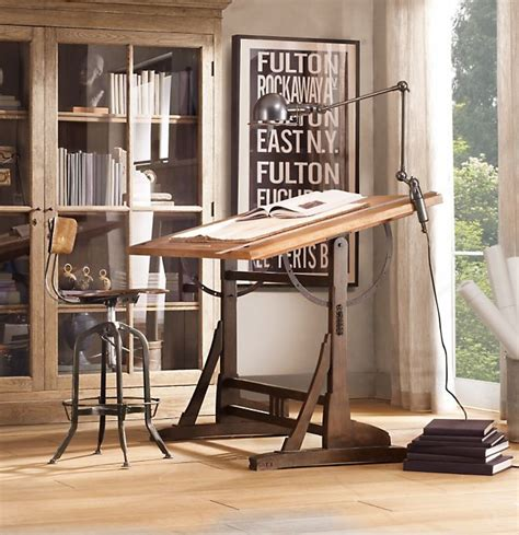 restoration hardware drafting table vintage architect drafting table interior design ideas