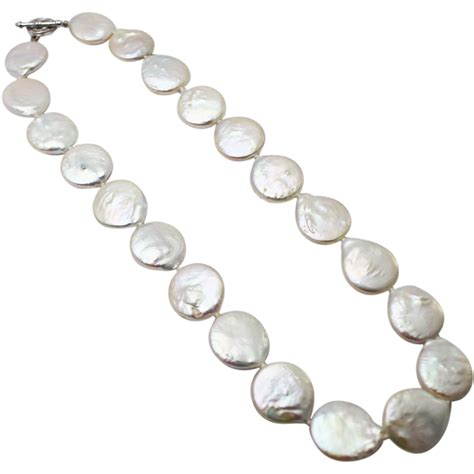 White Silver Pearl 13mm cultured white coin pearl cz sterling silver necklace