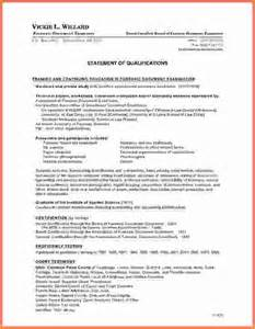 Qualifications Resume Exles by Statement Of Qualifications Exle Sle Resume