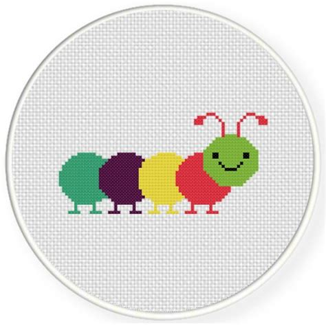 colorful stitches colorful caterpillar cross stitch pattern daily cross stitch