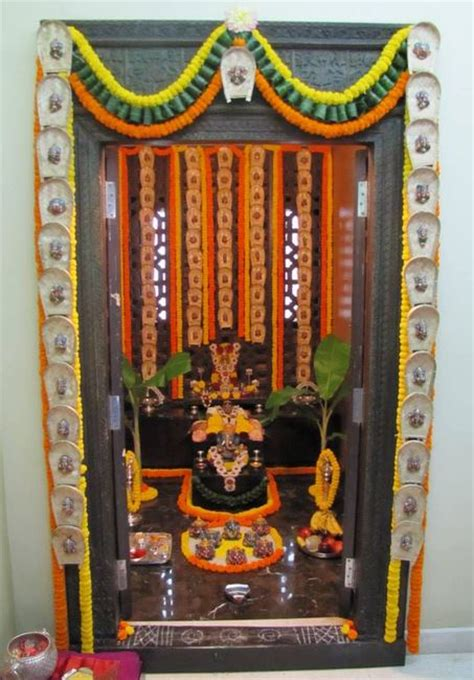 pooja room decoration for ganpati indian festivals
