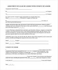 Assignment Of Lease Template by Sle Assignment Of Lease 9 Free Documents In
