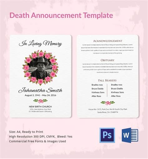 death announcement templates